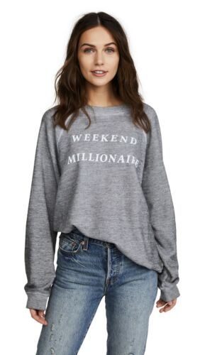 Wildfox Wmns NWOT Sweater Weekend Millionaire Baggy Pullover Gray Size X-Small