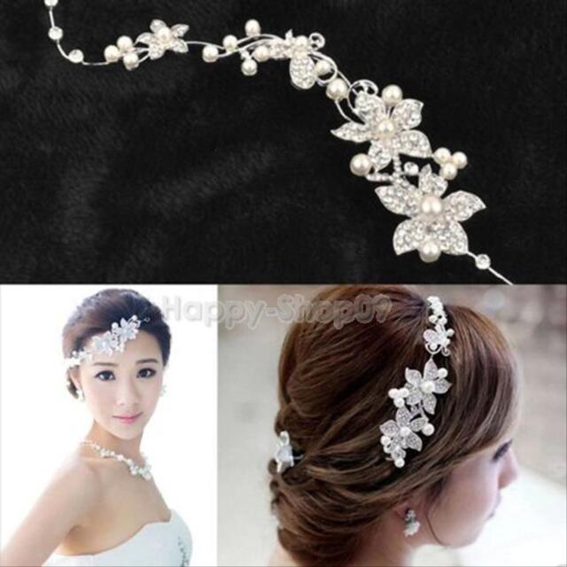 Bridal Wedding Bridesmaid Hair Clip Rhinestone Pearl Flower Hair Pin Diamante