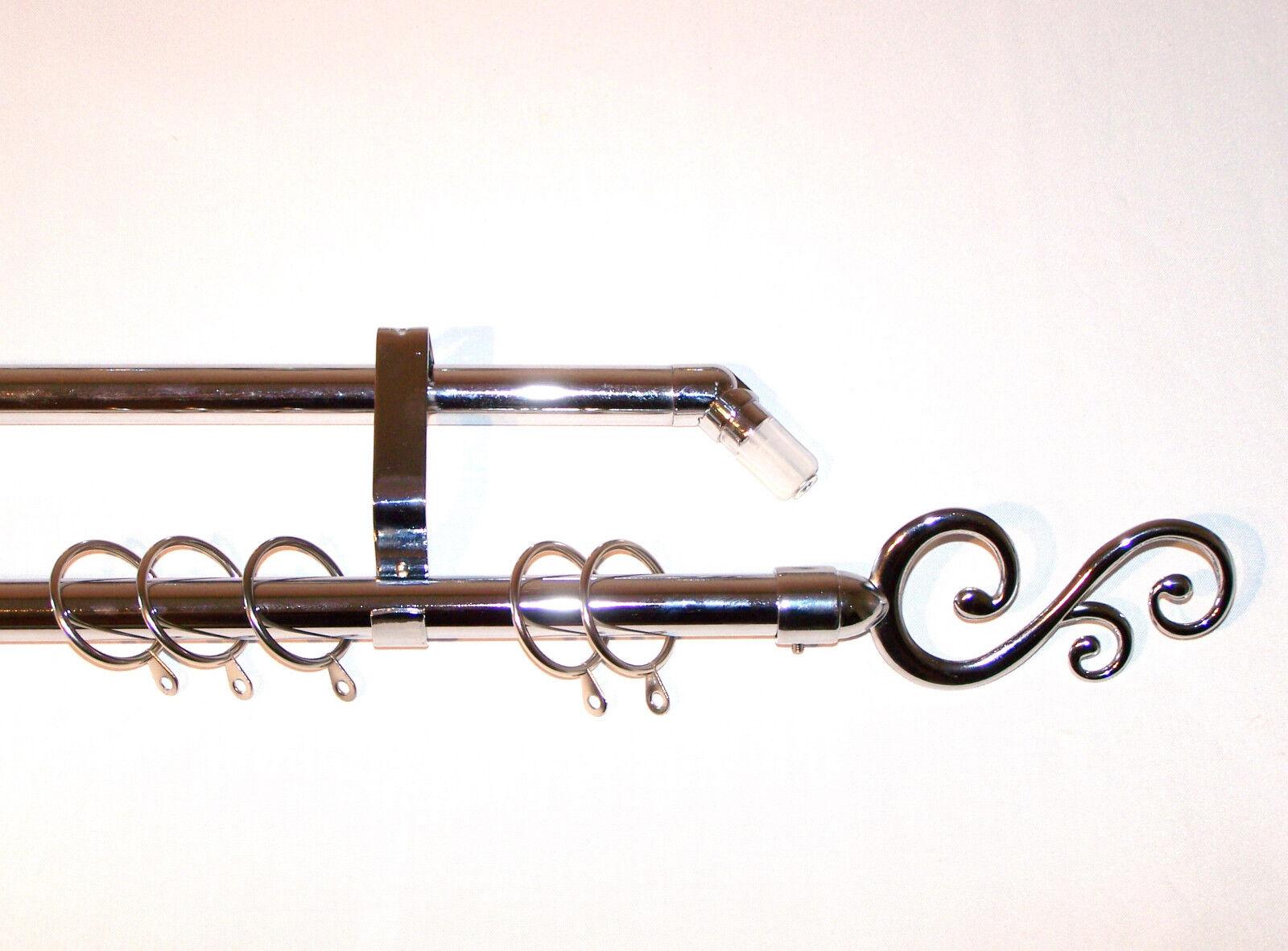 19mm CROMO Spirale bovindo Tenda Pole Sistema Spirale CROMO CURVO ornamenti 2.4m 240cm 3m bc1234