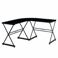 L Shape Computer Desk With Black Tempered Glass Top Amp Black Metal Frame
