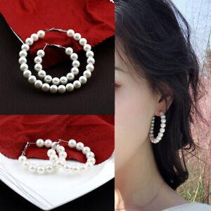 1-Paar-Elegante-Perlen-Runde-Creolen-Frauen-Ubergroesse-Perle-Kreis-Schmuck