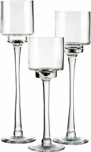 Candle Holder Set of 3 Glass Pedestal Stem Candle Holders in 3 Different Heights