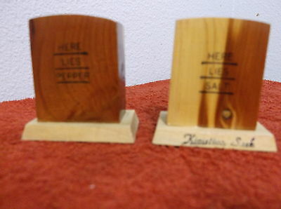"""VINTAGE SOUVENIR """"TOMBSTONES """" WOOD SALT & PEPPER SHAKERS FROM KINISTINO,SASK."""