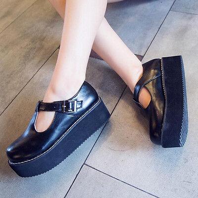 2016 New Fashion Women Black Flat Creeper T-Straps Round Toe High Platform Shoes