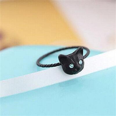 1pc Women Mini Lovely Cat Shaped Ring Rhinestone Studd Ring Black Gold Silver NG