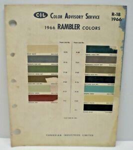 1966 AMERICAN MOTORS OF CANADA RAMBLER CAR COLOR C-I-L PAINT CHIP CHART
