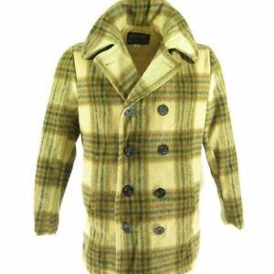 Vintage-70s-Oakbrook-Sportswear-Pea-Coat-38-M-Brown-Plaid-Wool-Quilted-Lining