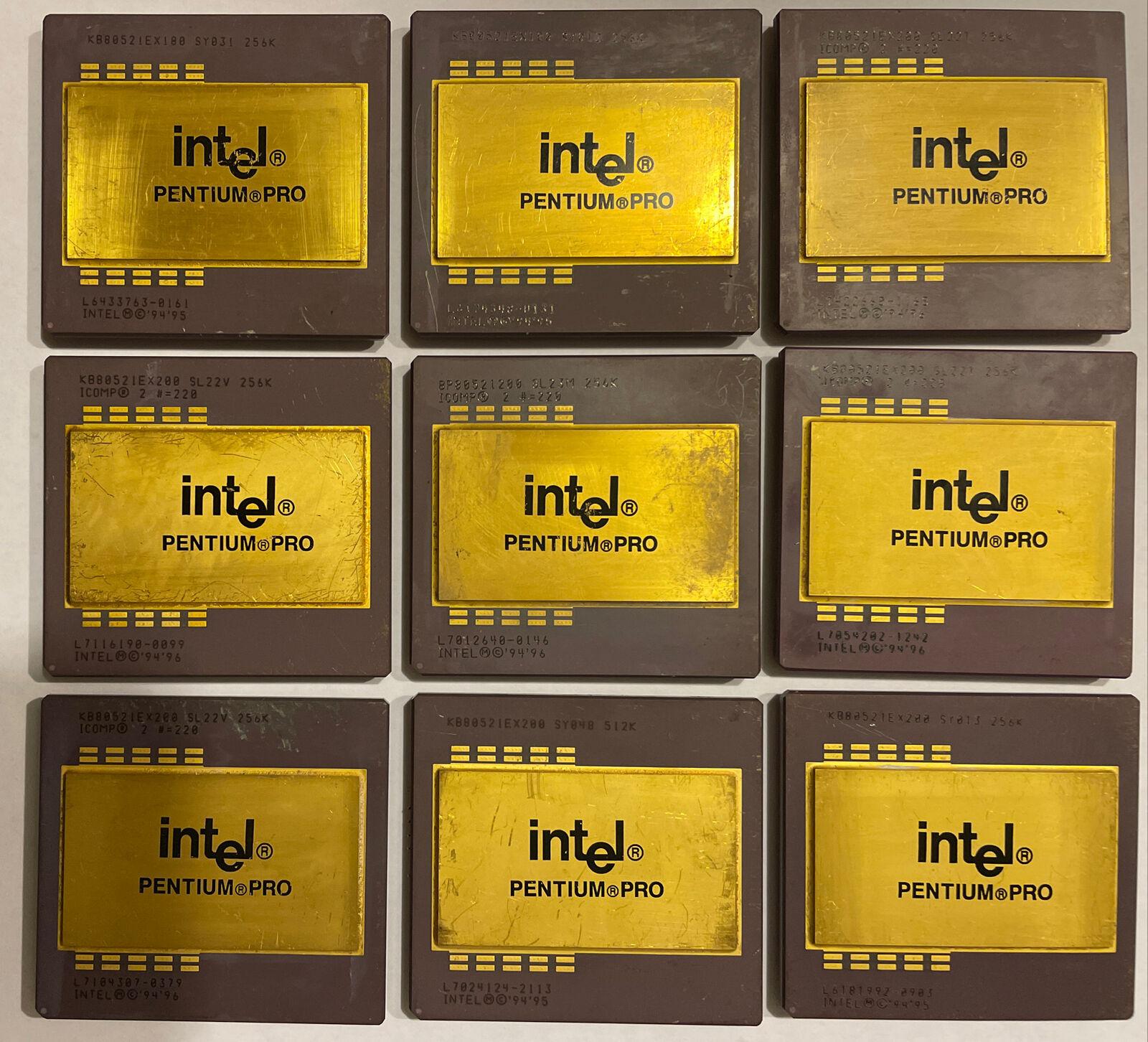 *9 ITEMS* (7)Intel Pentium Pro KB80521EX200 (2) KB80521EX180 256K Gold Recovery