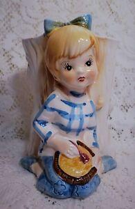 Relpo Planter Head  Vase Teen Girl Blonde 6554 Vintage Blue Bow White Tree 60s