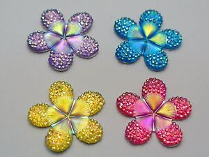 20-Mixed-Color-Flatback-Resin-Flower-Dotted-Rhinestone-Cabochon-28mm-No-Hole