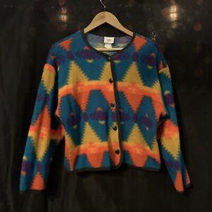 Vintage Southwest Cropped Fleece Jacket David Wayne Button Down Aztec USA Medium