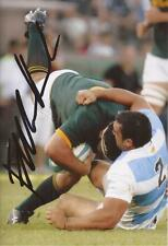 SOUTH AFRICA RUGBY: FRANS MALHERBE SIGNED 6x4 ACTION PHOTO+COA *SPRINGBOKS*