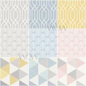 Arthouse Leaf Triangle Trellis Geometric Wallpaper Linen Effect