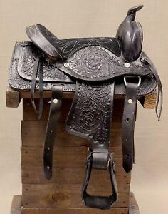 10-034-Black-Western-Pony-Mini-Youth-Horse-Leather-Kids-Saddle