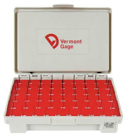 VERMONT GAGE 902200100 Pin Gage Set,Minus,0.20-1.28mm,Black