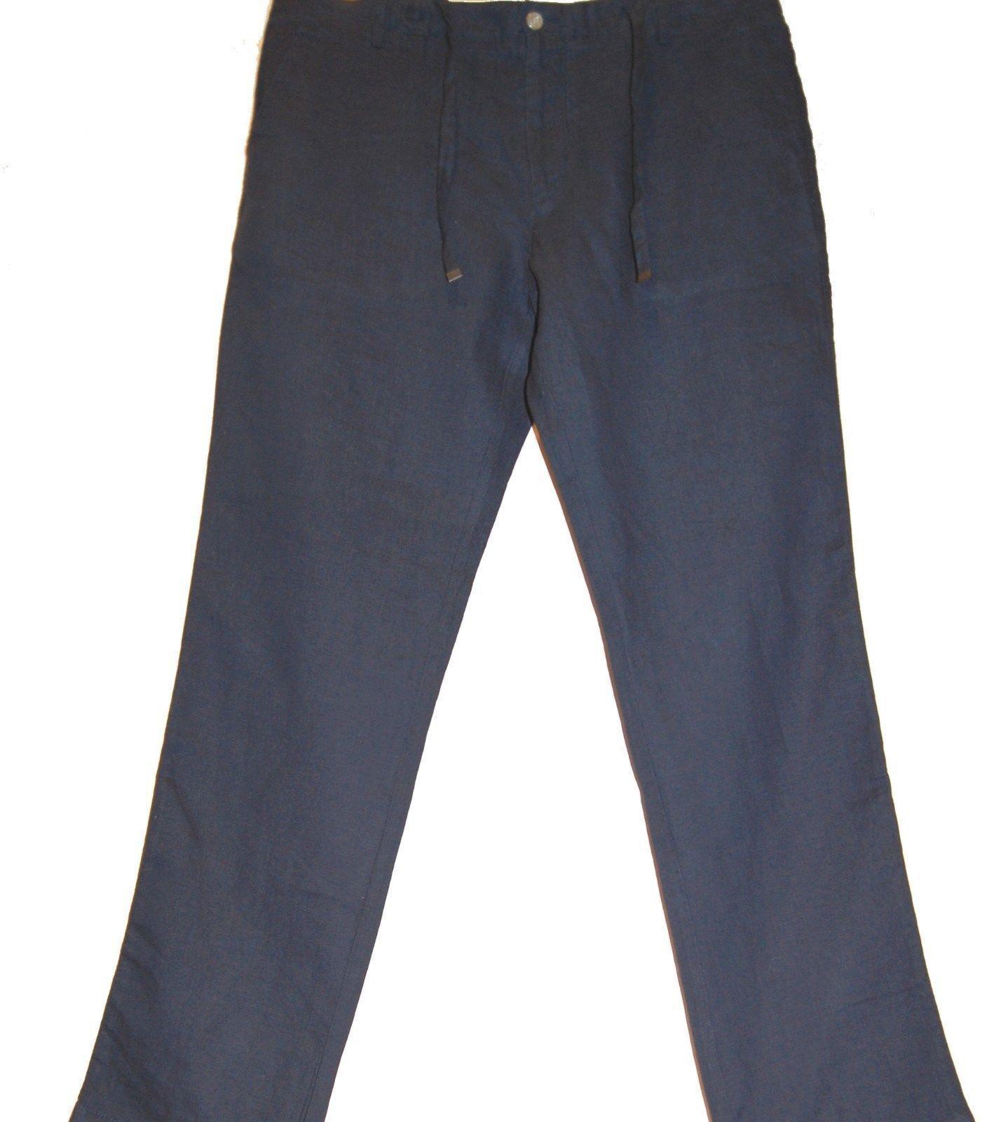 Hugo Boss Navy bluee Men's Linen Stylish Trosure Pants Size US 38 R NEW