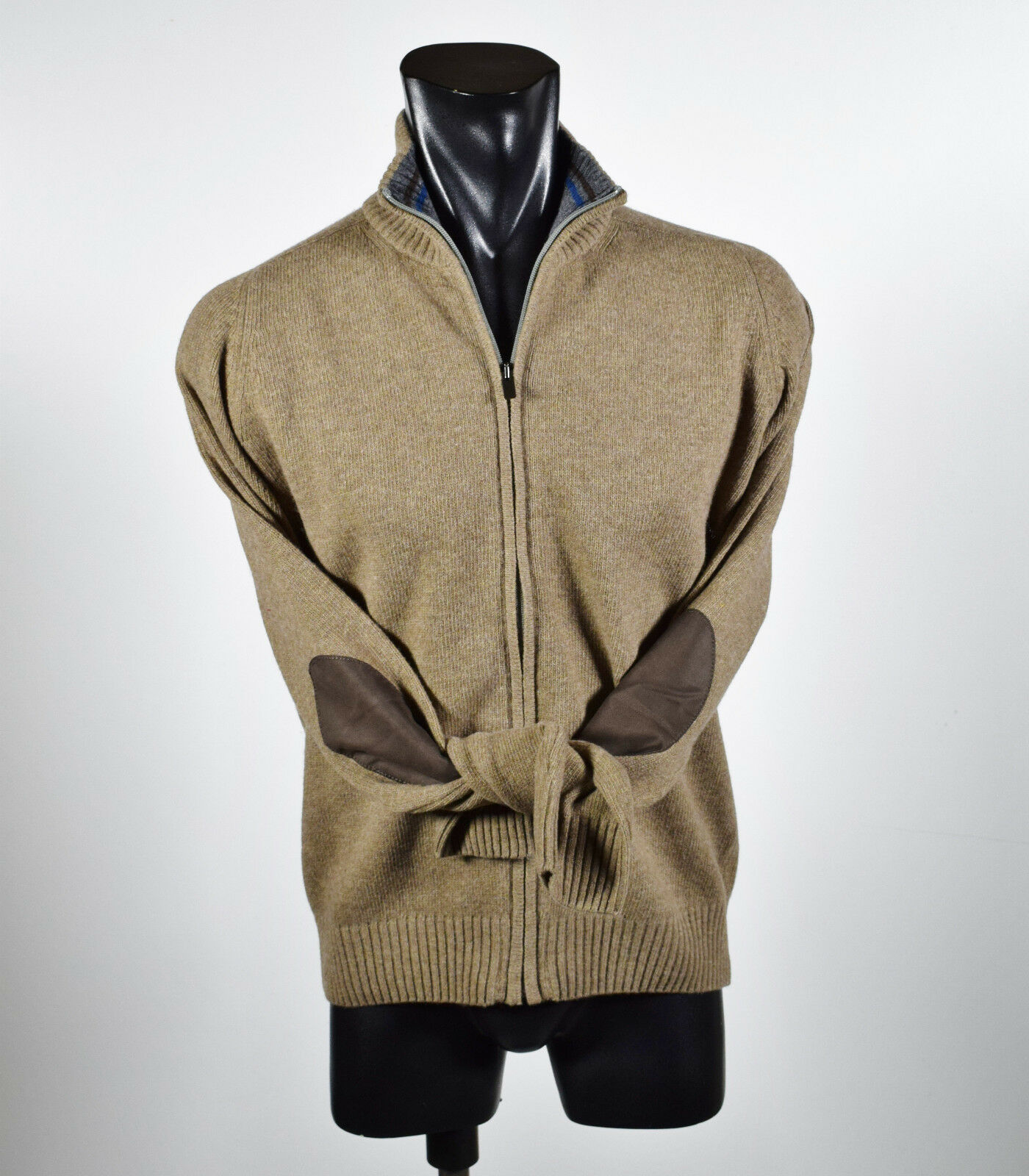 Cardigan Giacca con con con Zip Ocean Star misto Lana Lambswool con Toppe Made in  99d211