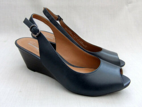 Brielle Wedge Clarks New Womens Sandals Leather Blue April Navy qfTTxa5B