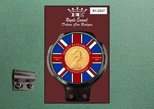 Royale Classic Car Badge & Bar Clip ERII THE LONGEST REIGN UNION JACK B1.2547