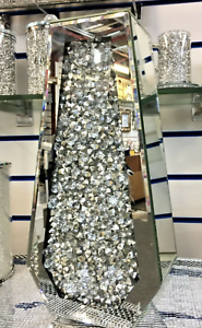 CRUSHED DIAMOND STUNNING SILVER CRYSTAL SILVER GLASS VASE, MIRRORED (40X20CM)✨