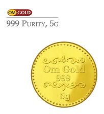 Om Gold 5 gm 24k(999) Purity Gold Coin - WITH TAX INVOICE