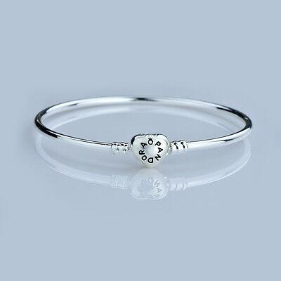 Fashion Heart Clasp Silver Bangle/Bracelet Fit 925 Charms Bead