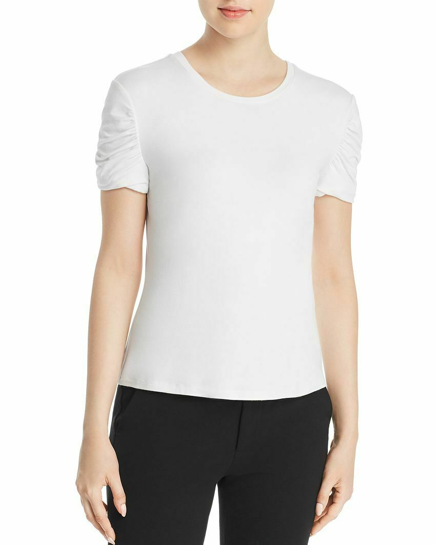 NEW  ELIE TAHARI WOMENS WHITE RUCHED-SLEEVE STRETCH KNIT T-SHIRT TOP SIZE XL