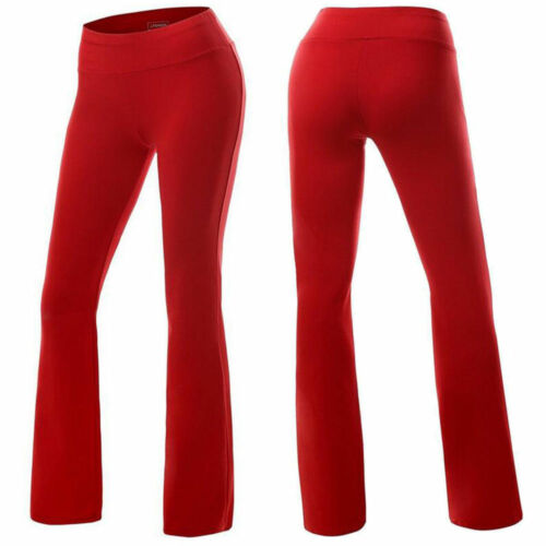 Details about  /Women Bootcut Yoga Pants Bootleg Flared Trousers Casual Fitness Stretch Sports B