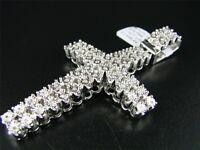 2 Row Mens White Gold Finish Xl Diamond Cross Pendant on sale