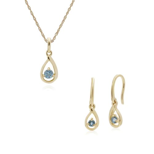 Details about  /9ct Yellow Gold Aquamarine Single Stone Tear Drop Earring and 45cm Necklace Set