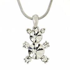 """W Swarovski Crystal Teddy Bear Cute Pendant Necklace Jewelry 18"""" Chain"""