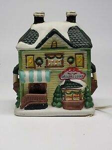 Ceramic-Christmas-Grocery-store-village-Town-Building-lighted-RETAILER-see