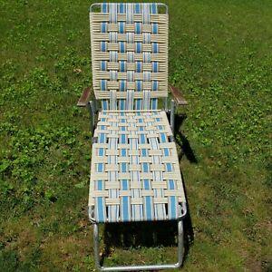 Vintage Folding Aluminum Chaise Lounge Lawn Pool Patio