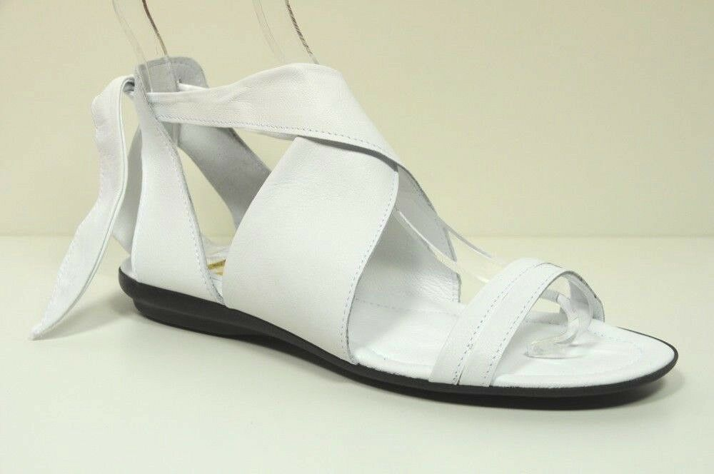Sandalo basso donna vera pelle a made incrocio 4 Passi bianco made a in Italy n. 36 31793f