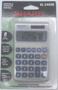 Sharp El240Sb Handheld Business Calculator, 8-Digit LCD Solar/Battery Power New
