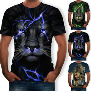 Animal-3D-Print-Mens-Womens-Summer-Casual-Funny-T-Shirt-Short-Sleeve-Graphic-Tee