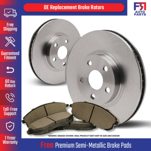 2 OEM Repl 4 Semi-Met Front Kit Pads Fits: 4lug High-End Brake Rotors