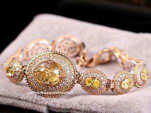 Turkish-Handmade-925-Sterling-Silver-Yellow-Citrine-Stone-Ladies-Womans-Bracelet