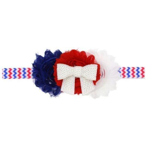 4th of July Baby Hair Head Band American Flag Chiffon Flower Rhinestone Satin