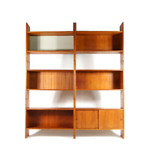 Retro-Vintage-Danish-Modular-Teak-Bookcase-Book-Shelving-Wall-Unit-Cabinet-1970s