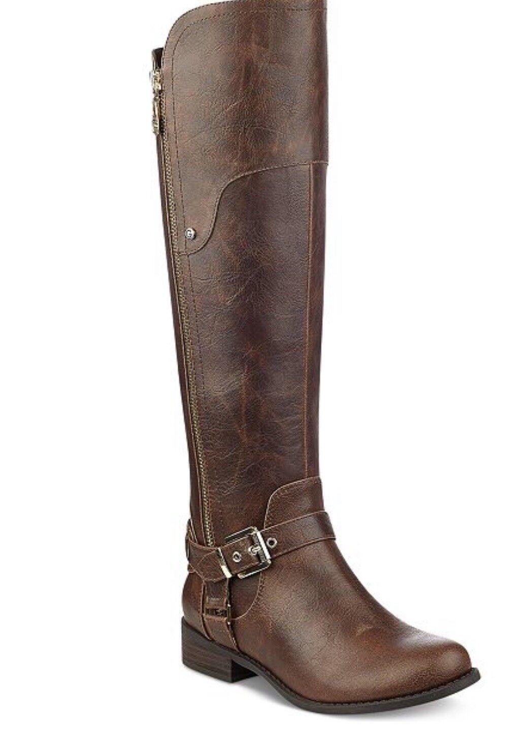 G By Guess Femme HARSON Large Mi-mollet en cuir synthétique Genou-Bottes hautes chaussures BHFO 6879