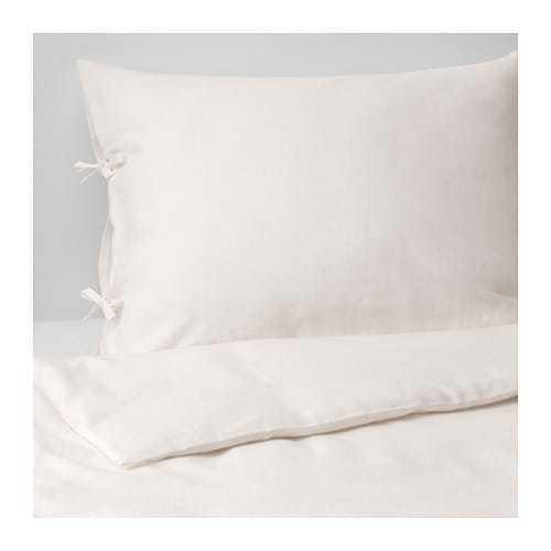 IKEA PUDERVIVA FULL QUEEN DUVET COVER SET WHITE(OFF) 100% LINEN NEW NICE  FREESH