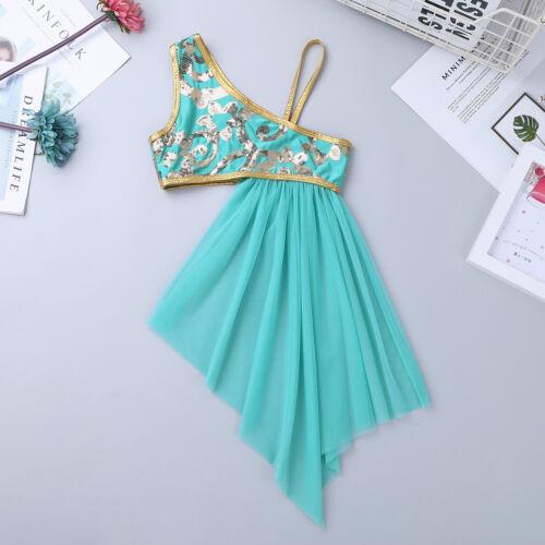 2 Pcs Girls Kids Floral Sequin Lyrical Dance Dress Side Waist Open Drap Costume