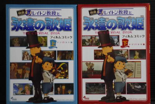 LOT JAPAN Professor Layton Eternal Diva Film Comic 1+2 Complete Set