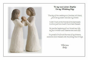 Wedding Gift For Sister In Law : Personalised Wedding Day Poem Gift - TO MY NEW SISTER IN LAW eBay