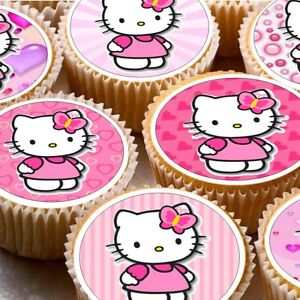 Details About 24 Icing Cake Toppers Decorations Hello Kitty Pink Backgrounds