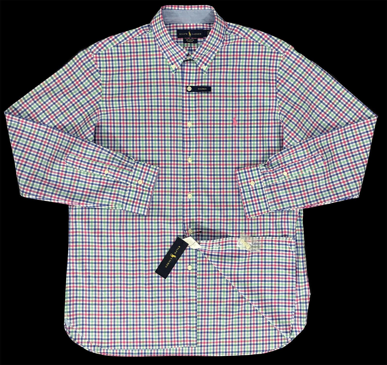 NEW Polo Ralph Lauren Men/'s Cotton Strech LS Button Front Shirt Pastel Sizes S L