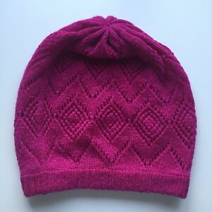 100-Pure-Cashmere-Fuchsia-Pink-039-Pointelle-039-Fancy-Knit-Patterned-Beanie-Hat-BNWT