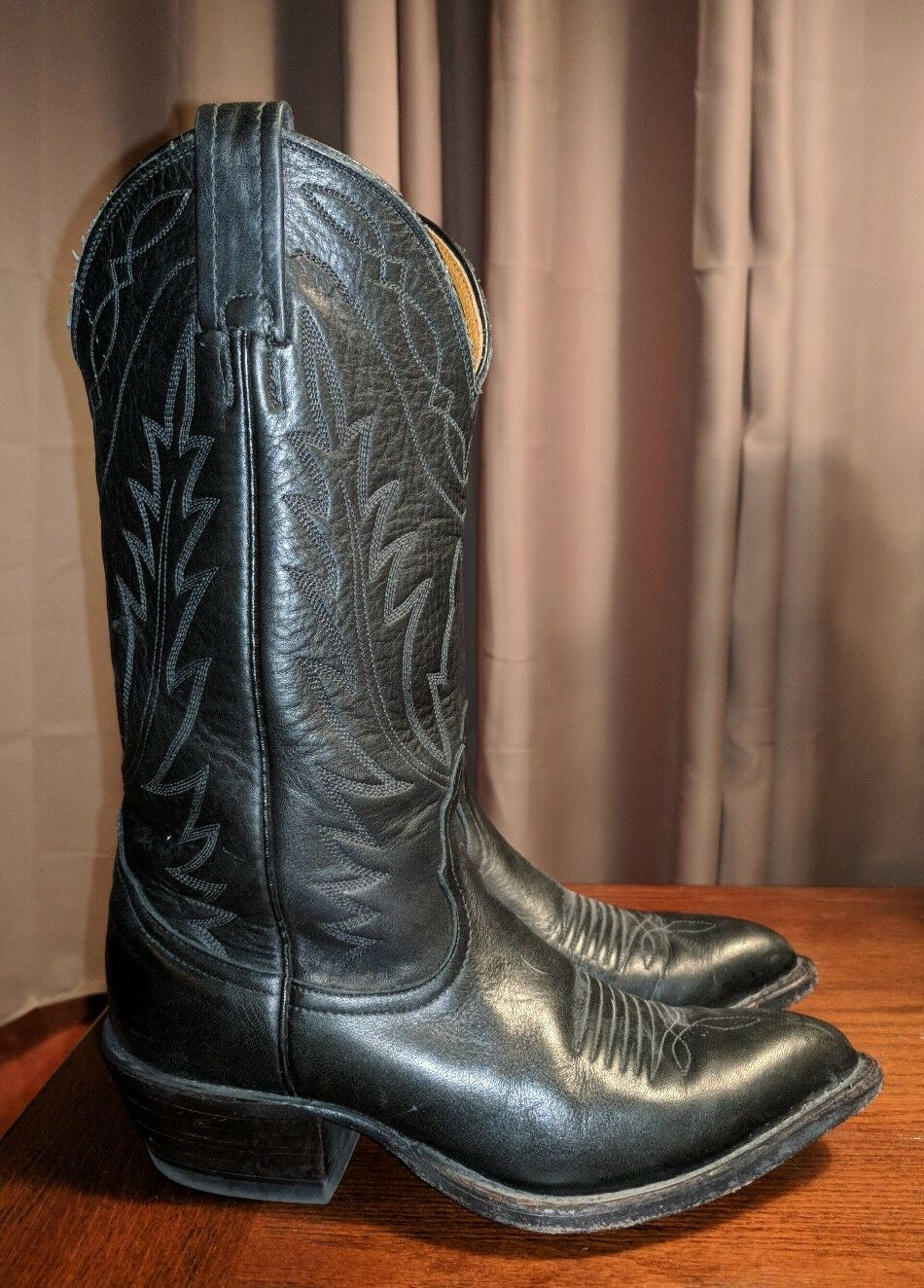 VINTAGE NOCONA COWBOY BOOTS USA BLACK LEATHER WESTERN LADIES RODEO 6 M BIKER