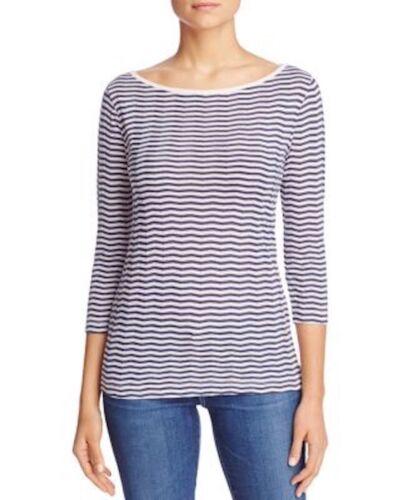 THREE DOTS 3//4 Sleeve Round Neck Chevron Stripe Pullover Tee Shirt Top Pink $88
